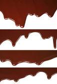 熔化的巧克力滴水集 — 图库照片