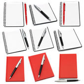 Notepads with ball pens — Stock Photo