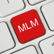 Red MLM (Multi Level Marketing) button — Foto de stock #25811571