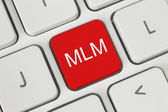 Red MLM (Multi Level Marketing) button — Stock fotografie