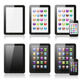 Tablet pc with icons set — Stock Photo