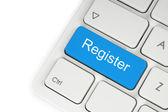Blå register-knappen — Stockfoto