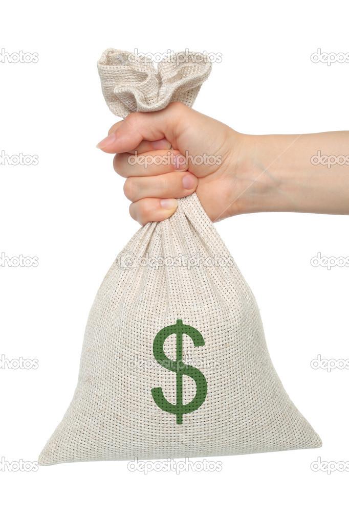 只手拿着钱袋子