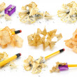 Pencils and wood shavings set — Stock Photo