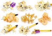 Pencils and wood shavings set — Stock Photo