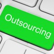 图库照片: Green outsourcing button