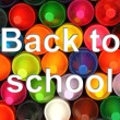 Color pencils background with back to school words — Foto Stock