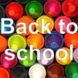 Color pencils background with back to school words — Stok fotoğraf
