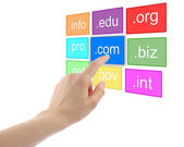 Hand pushing virtual domain name — Stock Photo