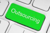 Botón verde outsourcing — Foto de Stock