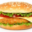 Stock Photo: Big chicken hamburger