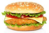 Velké kuřecí hamburger — Stock fotografie