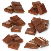Broken milk chocolate bar set — Stock Photo