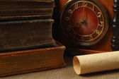Retro composition with books, clock and paper — Stock Photo
