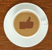 Coffee cup with thumb up — Foto de Stock