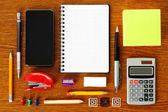 Work place with office stationery — Foto Stock