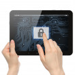 Hand pushing virtual security button on digital background of tablet PC — Stock Photo #42020735