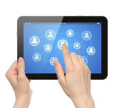 Woman hands hold and touch social media button on tablet PC — Stok fotoğraf
