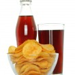 Bottle and glass of cola with potato chips — Stock Photo #46040975