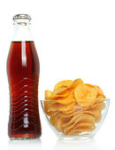 Bottle of cola with potato chips — Foto Stock