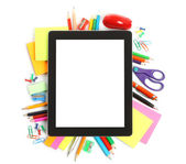 Tablet PC with school office supplies — Stock Photo
