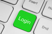 Green button with login word — Stock Photo