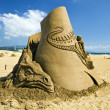Dragon Reality sand sculpture — Stock Photo