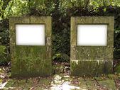 Blank Billboard Sign on stones — Stock Photo