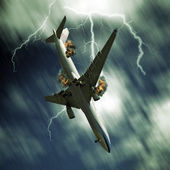 Airplane falling from sky — Stock Photo