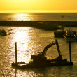 Stock Photo: Excavator machine construct on seunder twilight