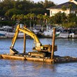 Excavator machine construct on sea — Stock Photo #38124059