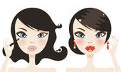 Cute brunette woman before and after makeup — Stock Vector