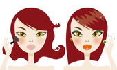Cute redhead woman before and after makeup — Stock Vector