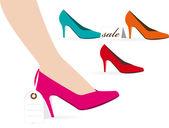şık bayan ayakkabı satılık — Stok Vektör