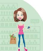 Süpermarkette çok gülen esmer kadın — Stok Vektör