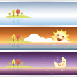 Banner set with autumn seascape day and night — Stock Vector