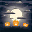 Stock Vector: Cartoon background with scary pumpkins