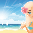 Beautiful blonde suntanned girl represent something — Stock Vector
