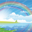 Beautiful summer landscape with river and rainbow — Stock Vector #26779975