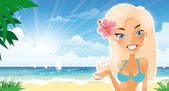 Beautiful blonde suntanned girl represent something — Stock Vector