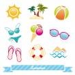 Set of colorful summer icon — Stock Vector