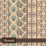 Set of seamless pattern on damask theme — Stock Vector