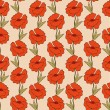 Royalty-Free Stock Vectorielle: Hand drawn pattern with red poppies