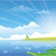 Beautiful summer landscape with river — Stock Vector #26787327