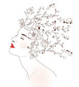 Profile of beautiful woman with hand drawn flowers — Stock Vector