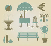 Set of vector furniture icons for outdoor — Stock Vector
