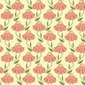 Hand drawn seamless pattern with pink flowers — Stock Vector