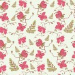 Stock Vector: Hand drawn seamless pattern with cute pink flowers
