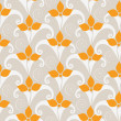 Pretty seamless pattern with orange flowers - Stock Vector