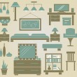Set of vector furniture icons for bedroom — Stock Vector